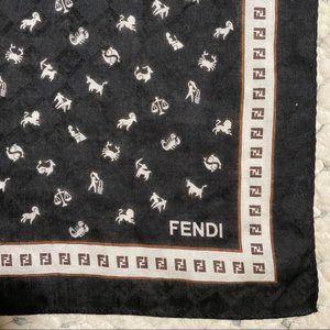 FENDI Authentic FF Logo Zodiac Black Scarf